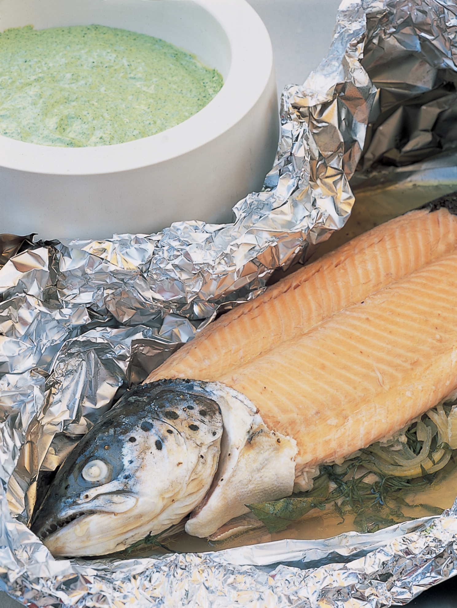 Foilbaked Whole Fresh Salmon With Green Herb Mayonnaise  Recipes  Delia  Online
