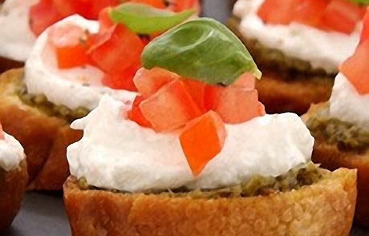 A picture of Delia's Bruschettas with Goats' Cheese, Basil and Tomato recipe