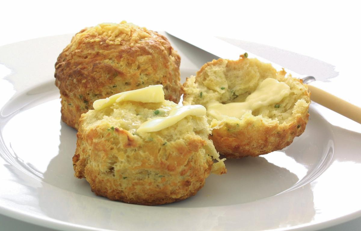 Baking cheshire cheese and chive scones