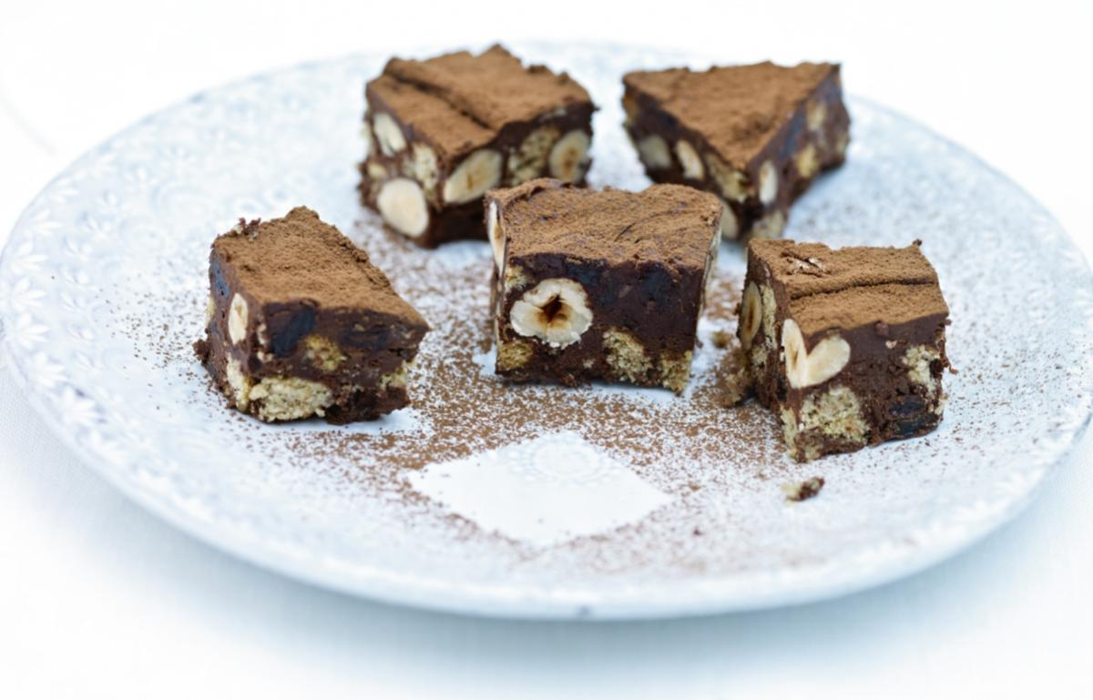 Cakes chocolate fruit and nut refrigerator cake