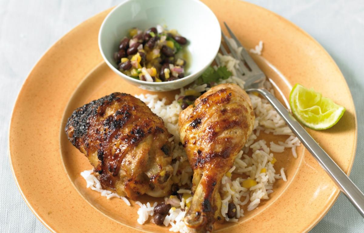 Cheat caribbean chicken with salsa