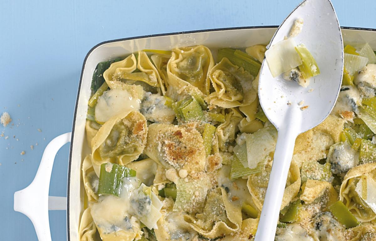 A picture of Delia's Spinach Tortelloni with Leeks and Gorgonzola recipe