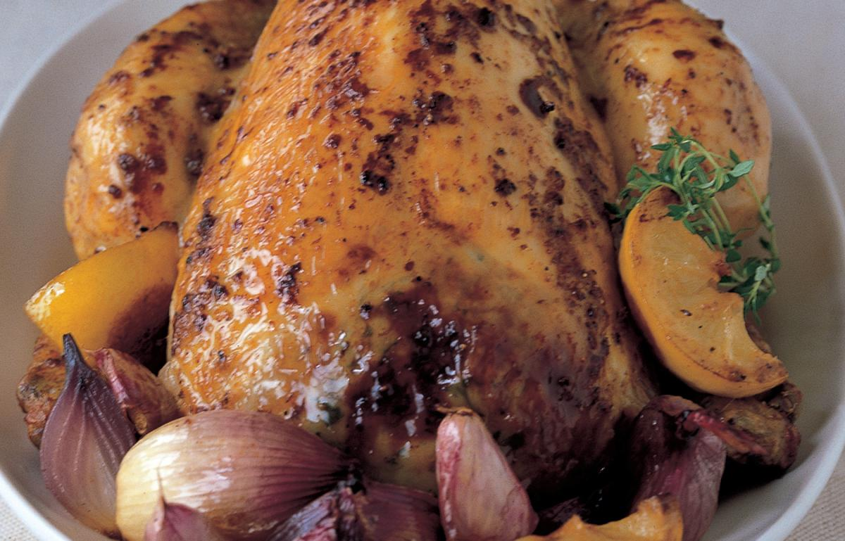 A picture of Delia's Chicken with Roasted Lemons, Red Onion, Thyme and Garlic recipe