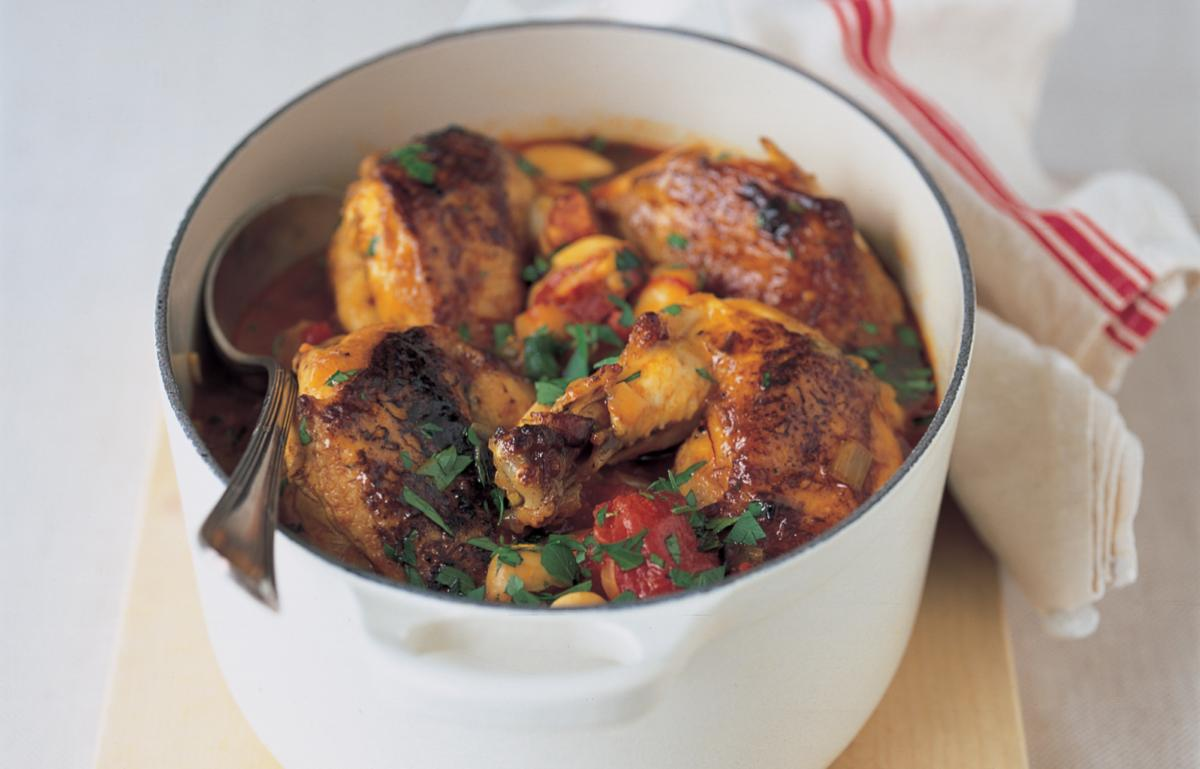 Spanish Chicken With Butter Beans Chorizo And Tomatoes