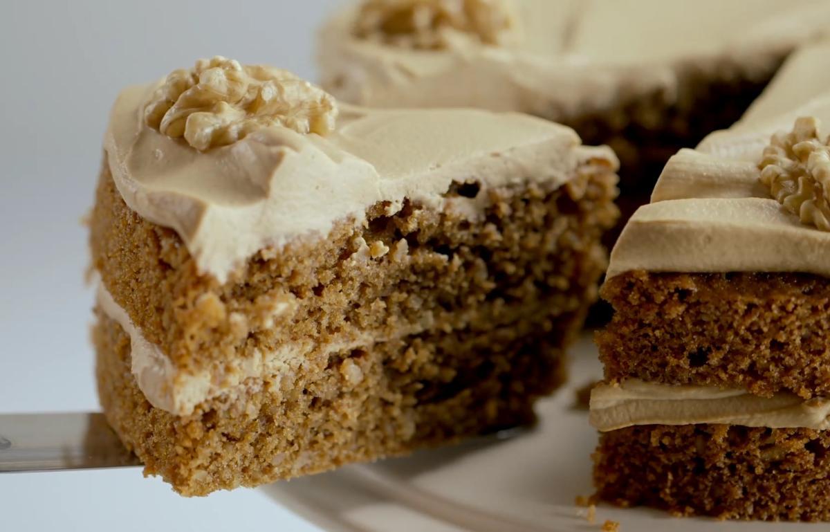 Cs coffee and walnut sponge cake