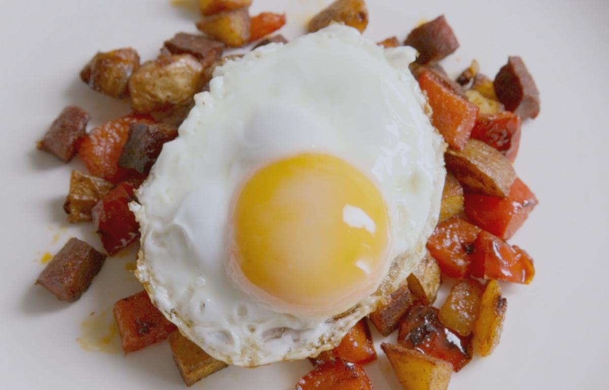Cs fried eggs on chorizo hash