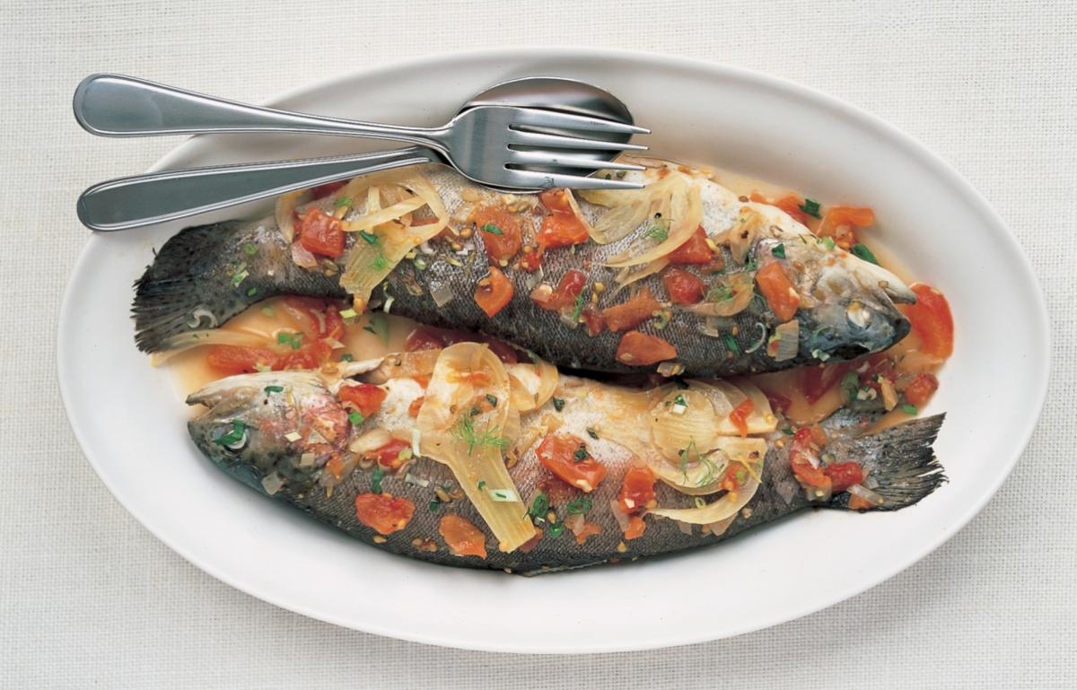 Fish chilled marinated trout with fennel