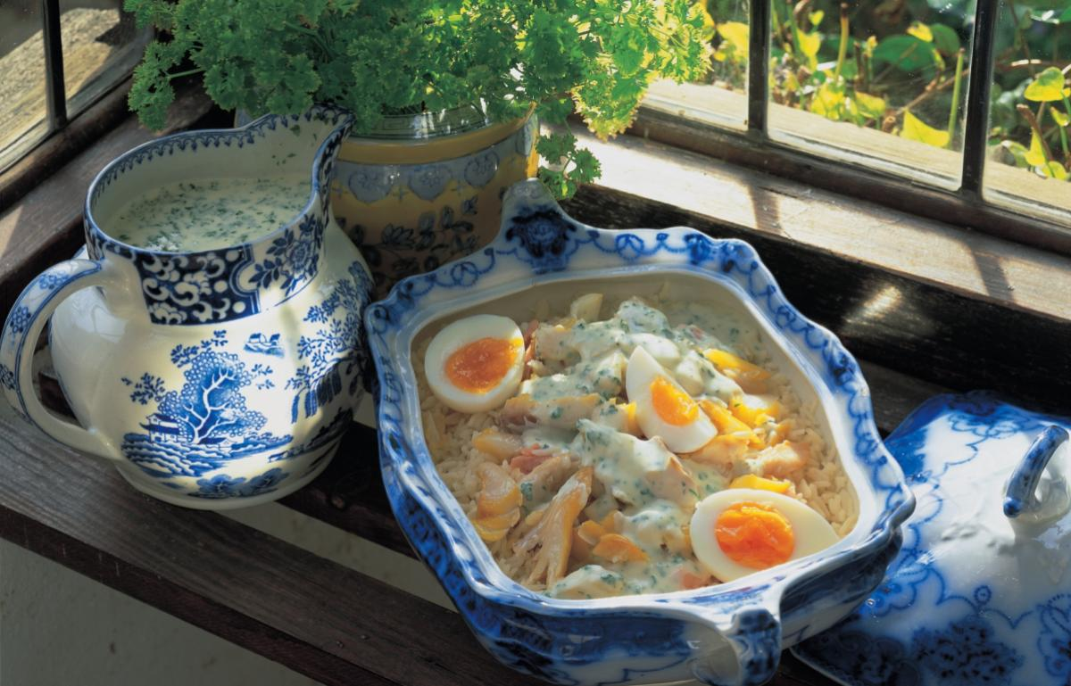 A picture of Delia's Mixed Smoked Fish Kedgeree with a Creme Fraiche and Parsley Sauce recipe