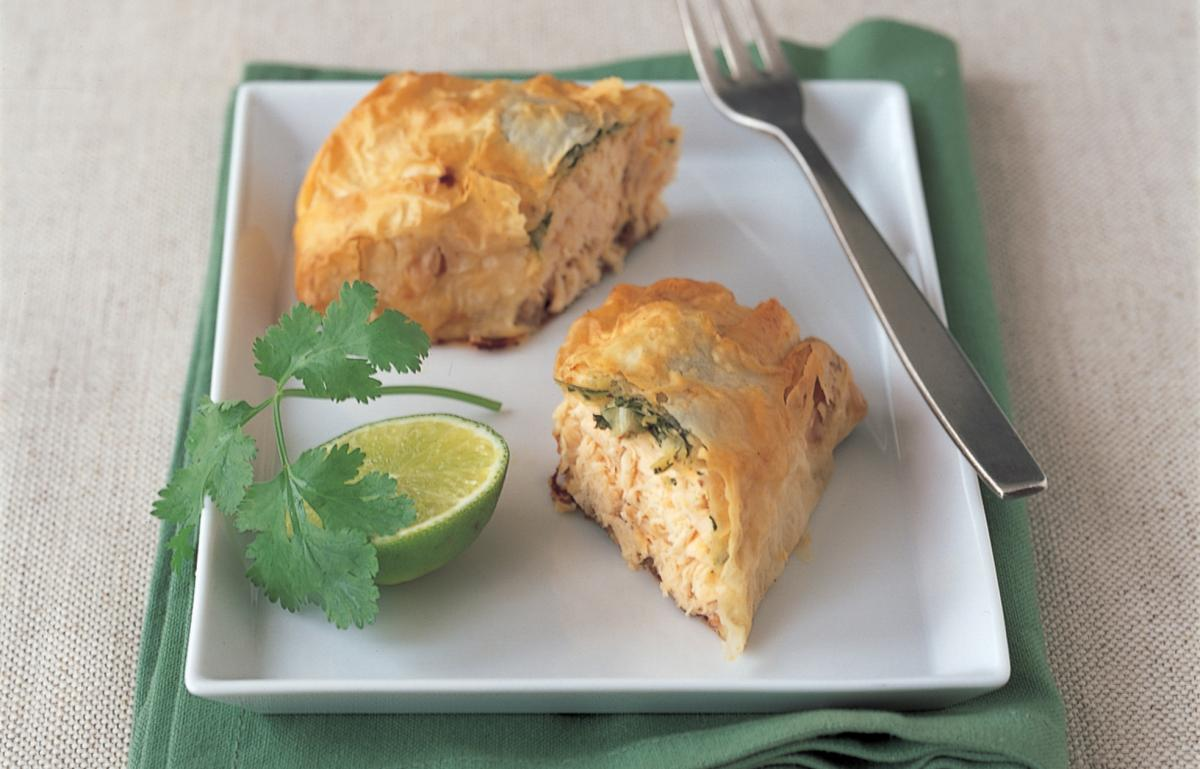Fish thai salmon filo parcels