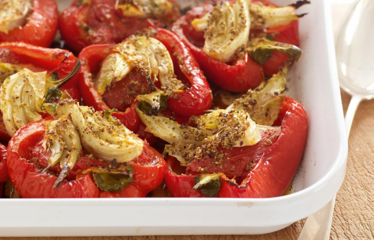 Happy roasted red peppers stuffed with fennel