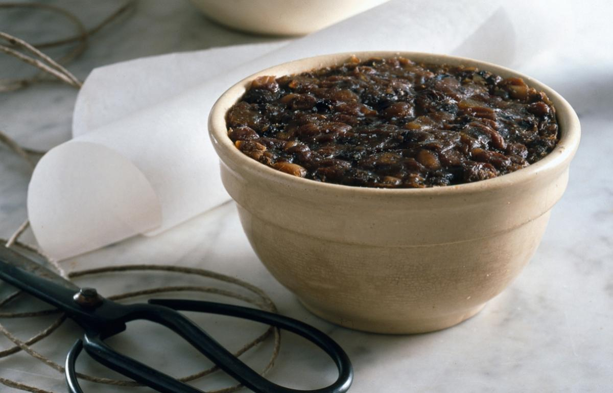 Happy traditional christmas pudding