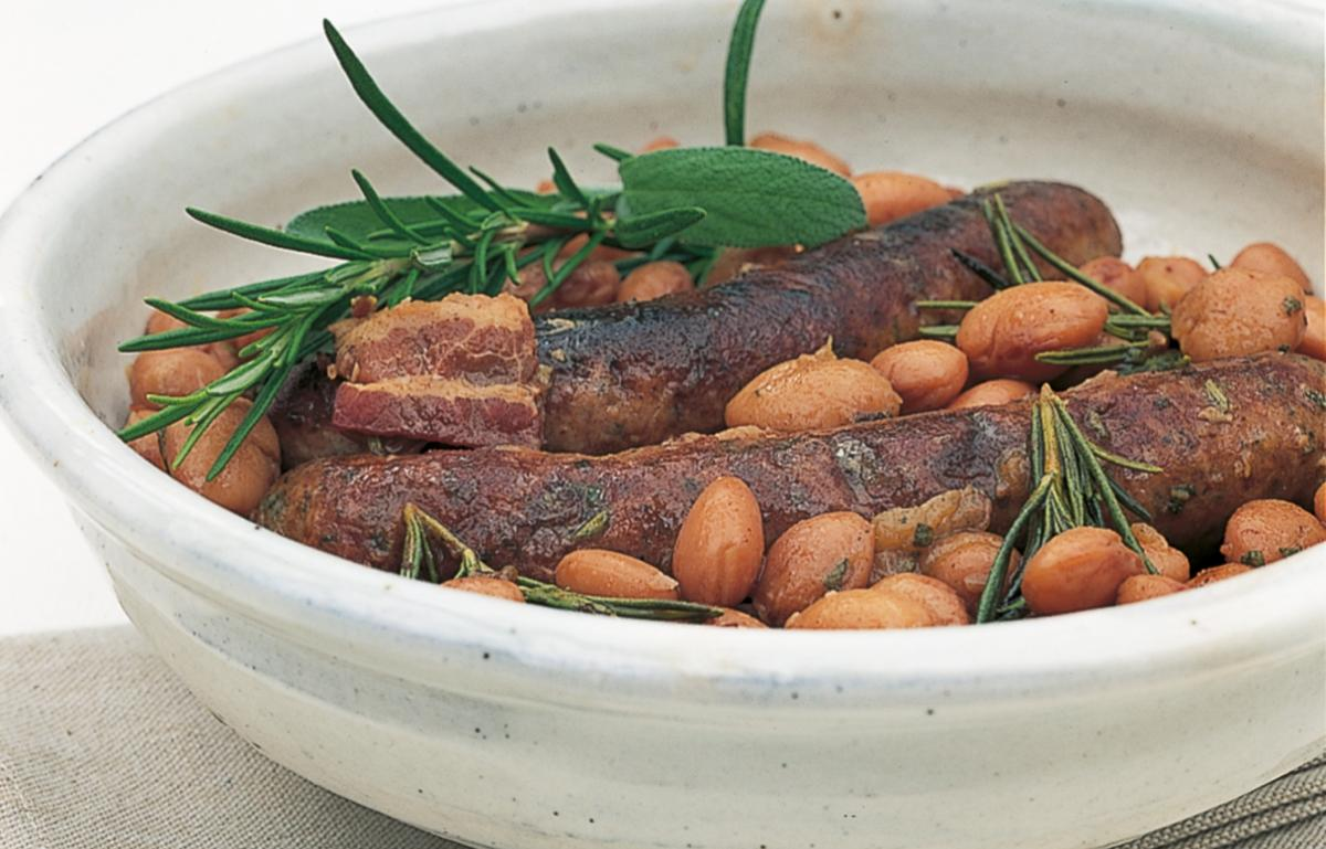 A picture of Delia's Braised Sausages with Borlotti Beans, Rosemary and Sage recipe