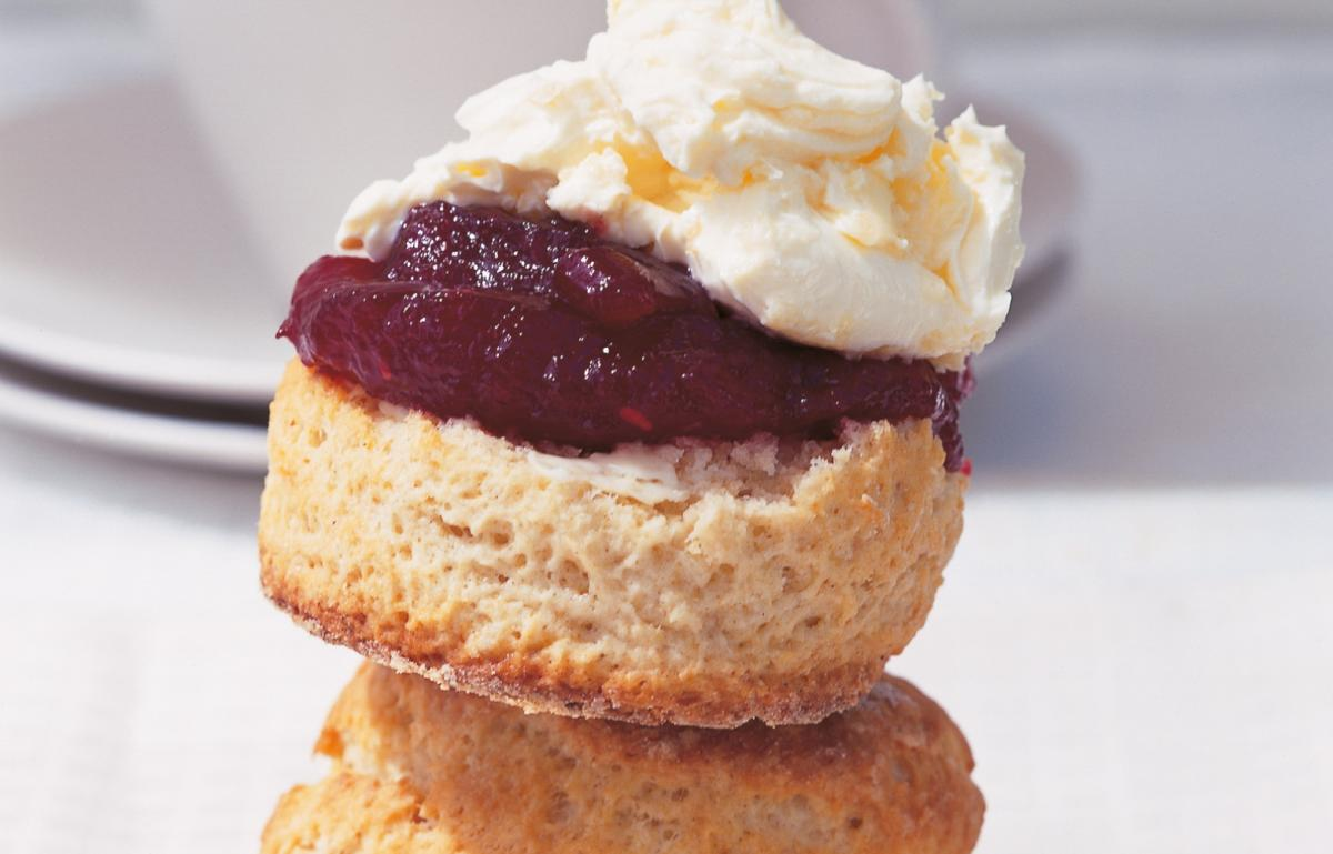Buttermilk Scones With West Country Clotted Cream And Raspberry Butter