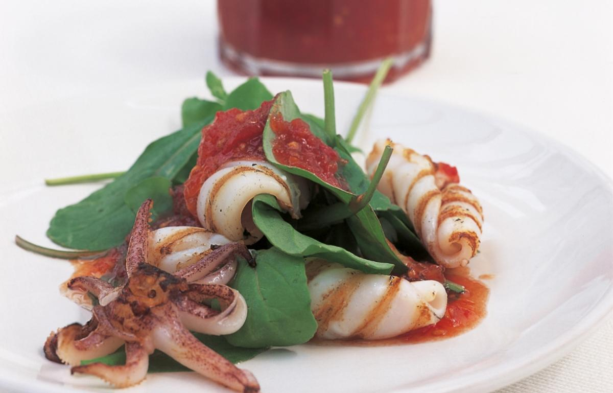 Htc char grilled squid with chilli jam