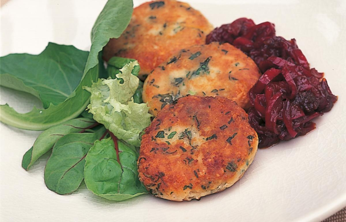 A picture of Delia's Cheese and Herb Fritters with Sweet Pepper Marmalade recipe