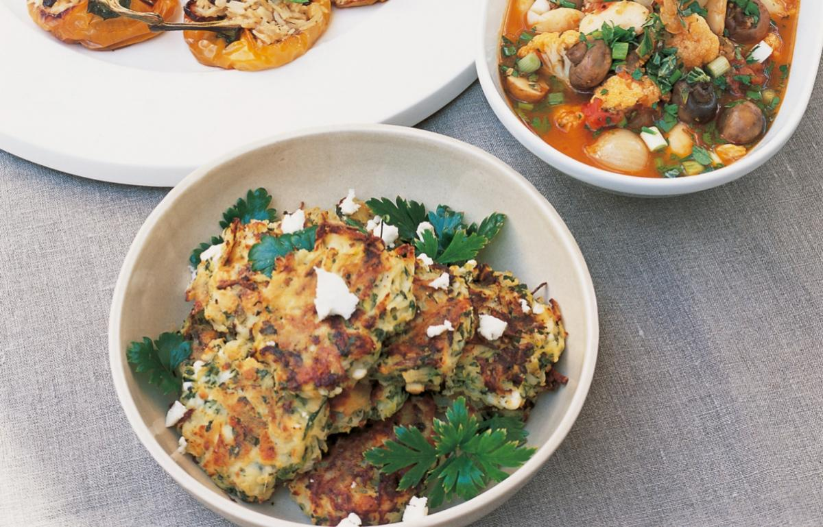 A picture of Delia's Courgette and Potato Cakes with Mint and Feta Cheese recipe