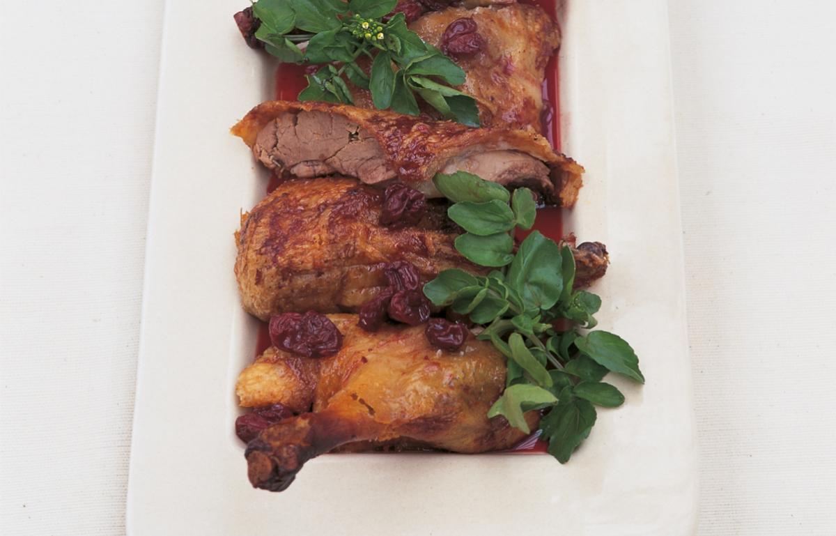 A picture of Delia's Crisp Roast Duck with Confit of Sour Cherries recipe