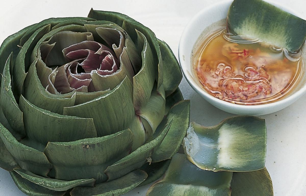 Htc globe artichokes with shallot vinaigrette