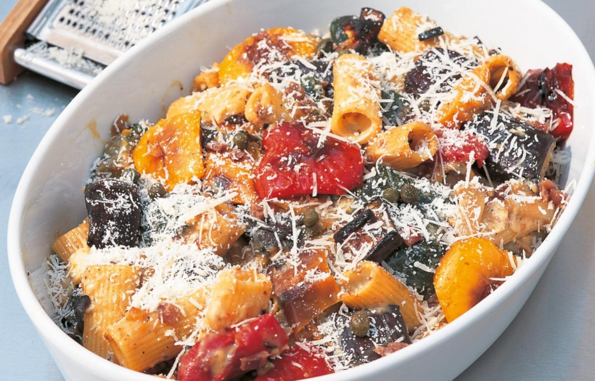 Htc gratin of rigatoni with roasted vegetables