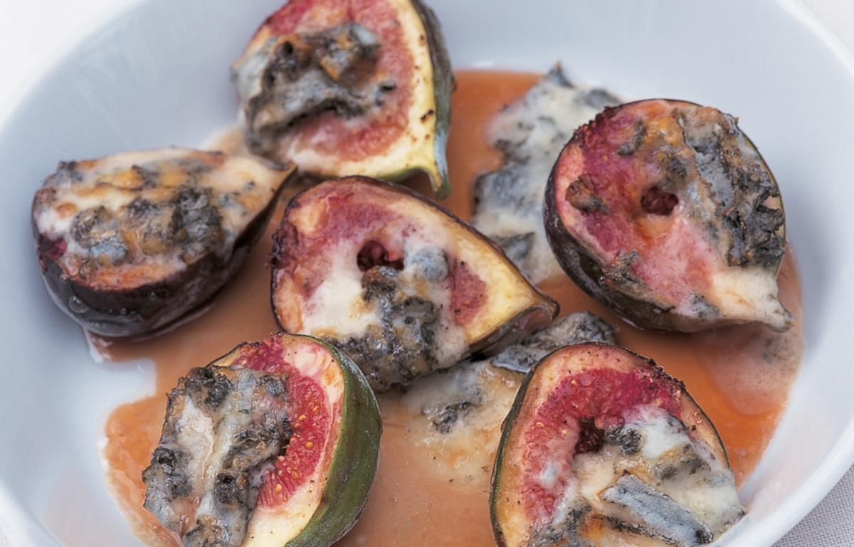 A picture of Delia's Roasted Figs with Gorgonzola and Honey-vinegar Sauce recipe