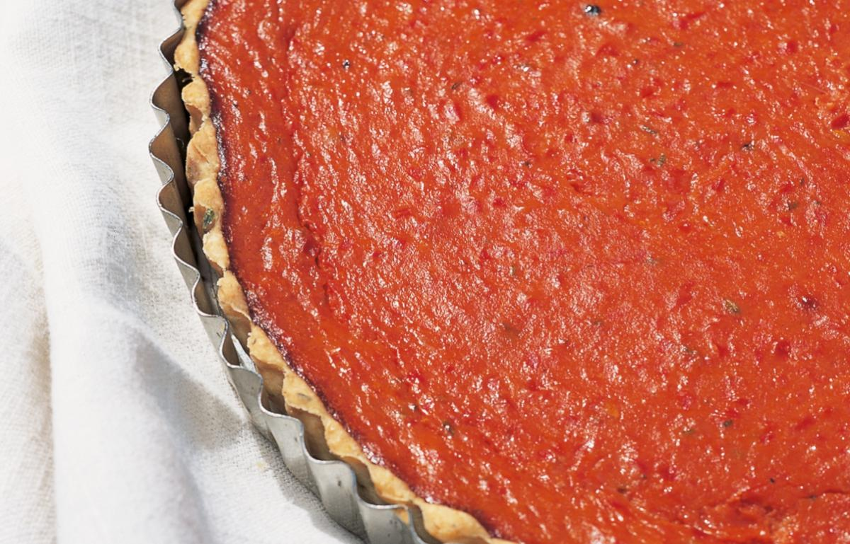 A picture of Delia's Roasted Red Pepper and Tomato Tart recipe