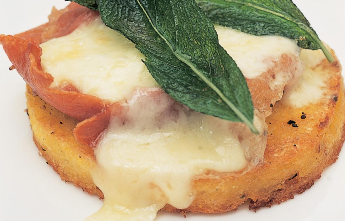 A picture of Delia's Grilled Polenta with Sage, Parma Ham and Melted Fontina Cheese  recipe