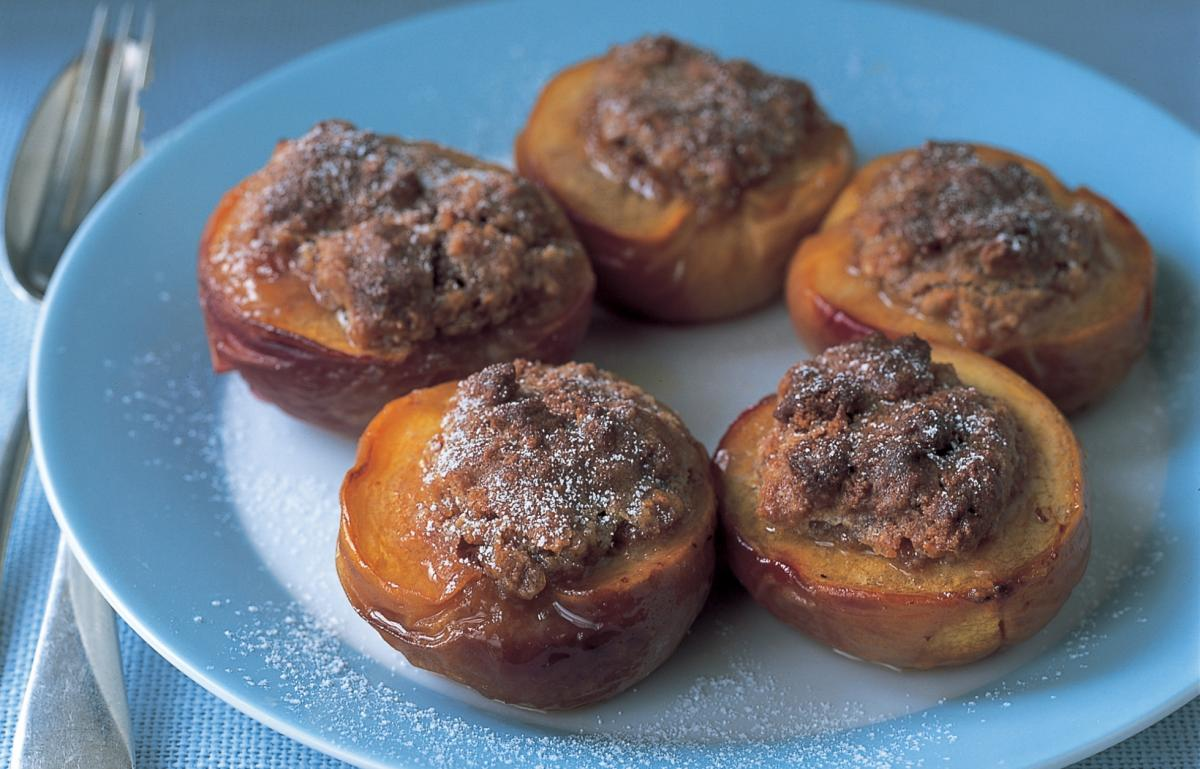 A picture of Delia's Peaches Baked with Amaretti recipe