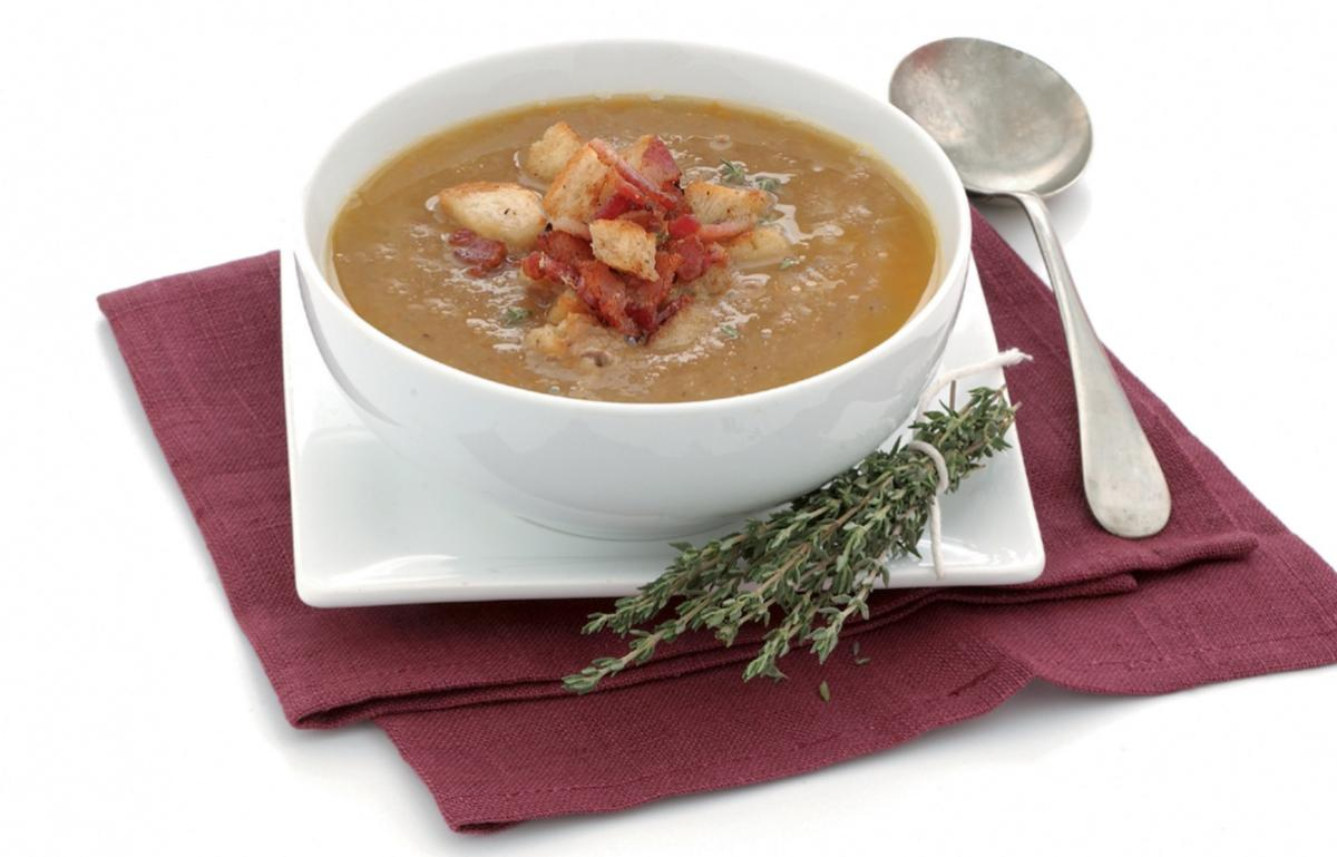 A picture of Delia's Chestnut Soup with Bacon and Thyme Croutons recipe