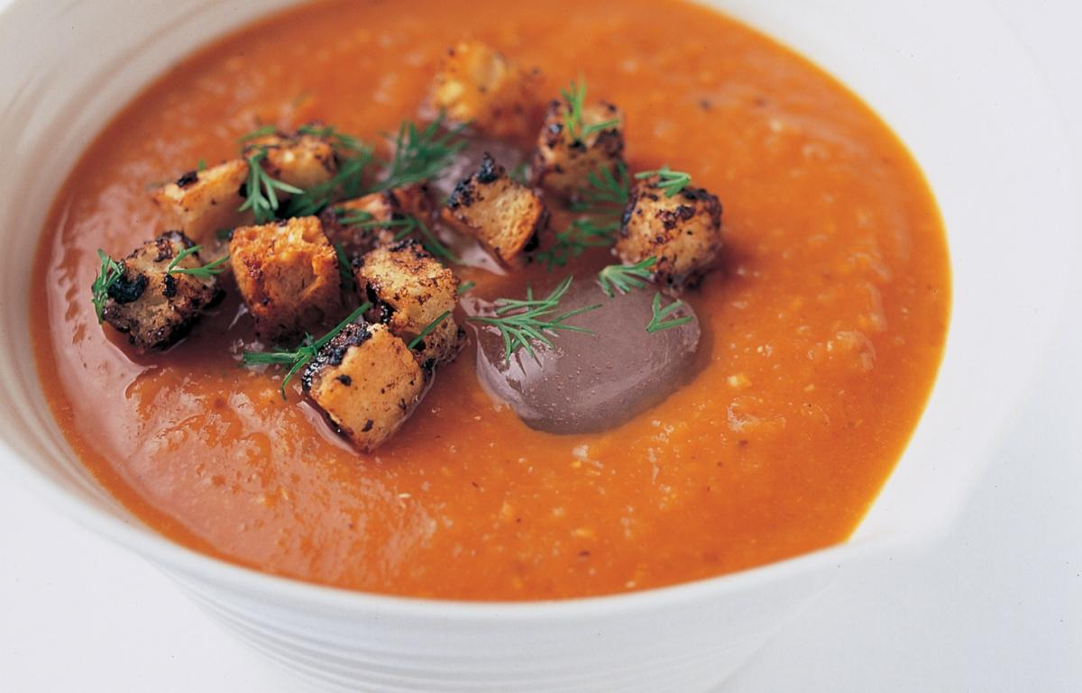 Chilled Fennel Gazpacho with Olive Ciabatta Croutons ...