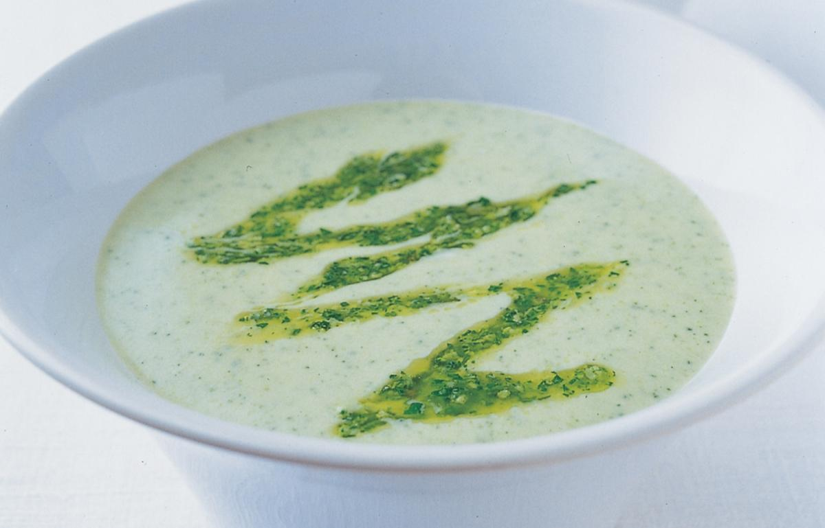 A picture of Delia's Courgette Soup with Watercress and Pecorino Pesto recipe