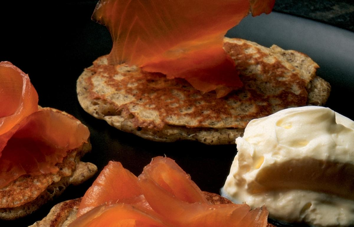Winter blinis with smoked salmon creme fraiche and dill