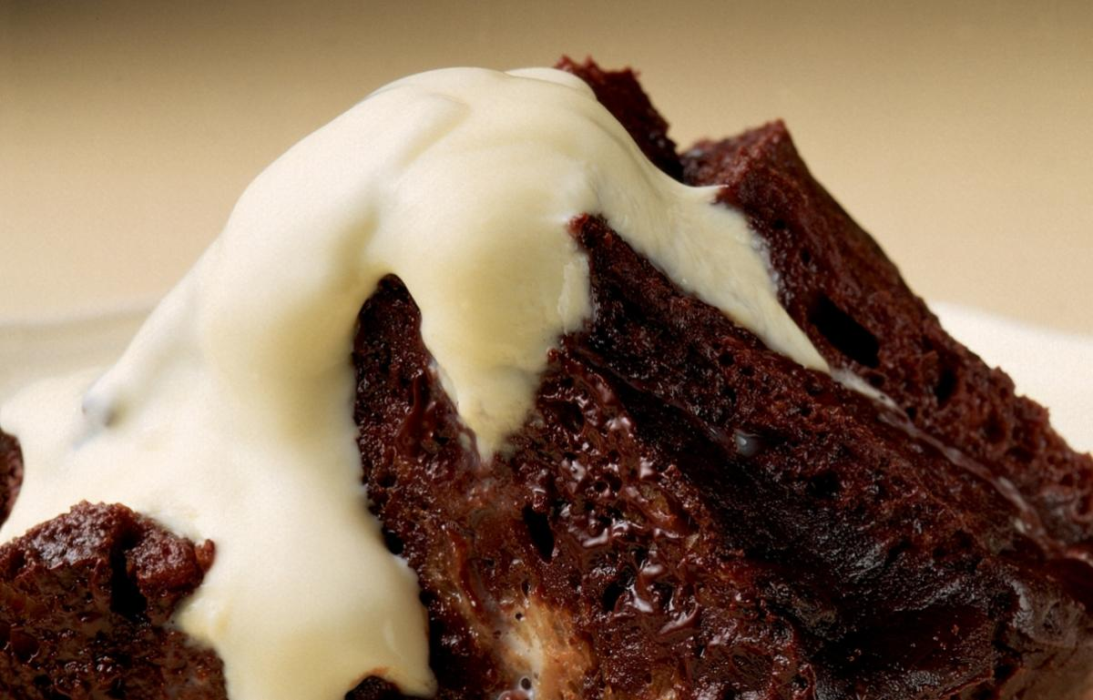 Winter chocolate bread and butter pudding