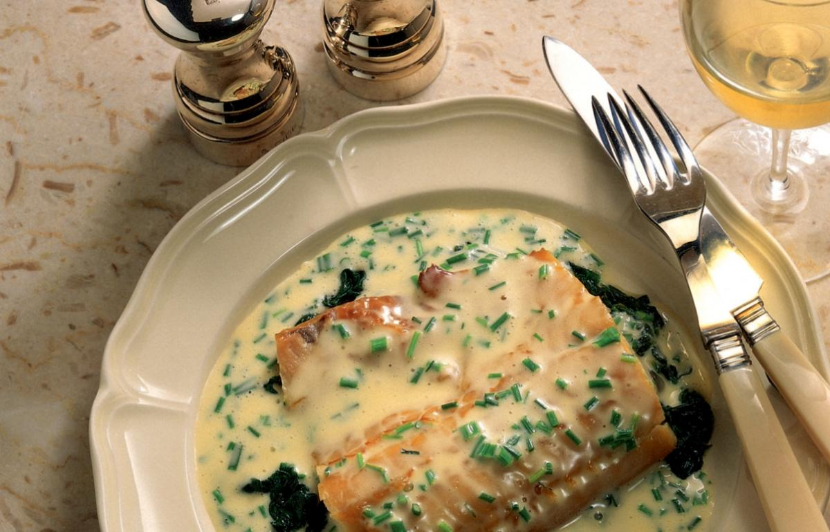 ... Haddock with Spinach and Chive Butter Sauce | Recipes | Delia Online