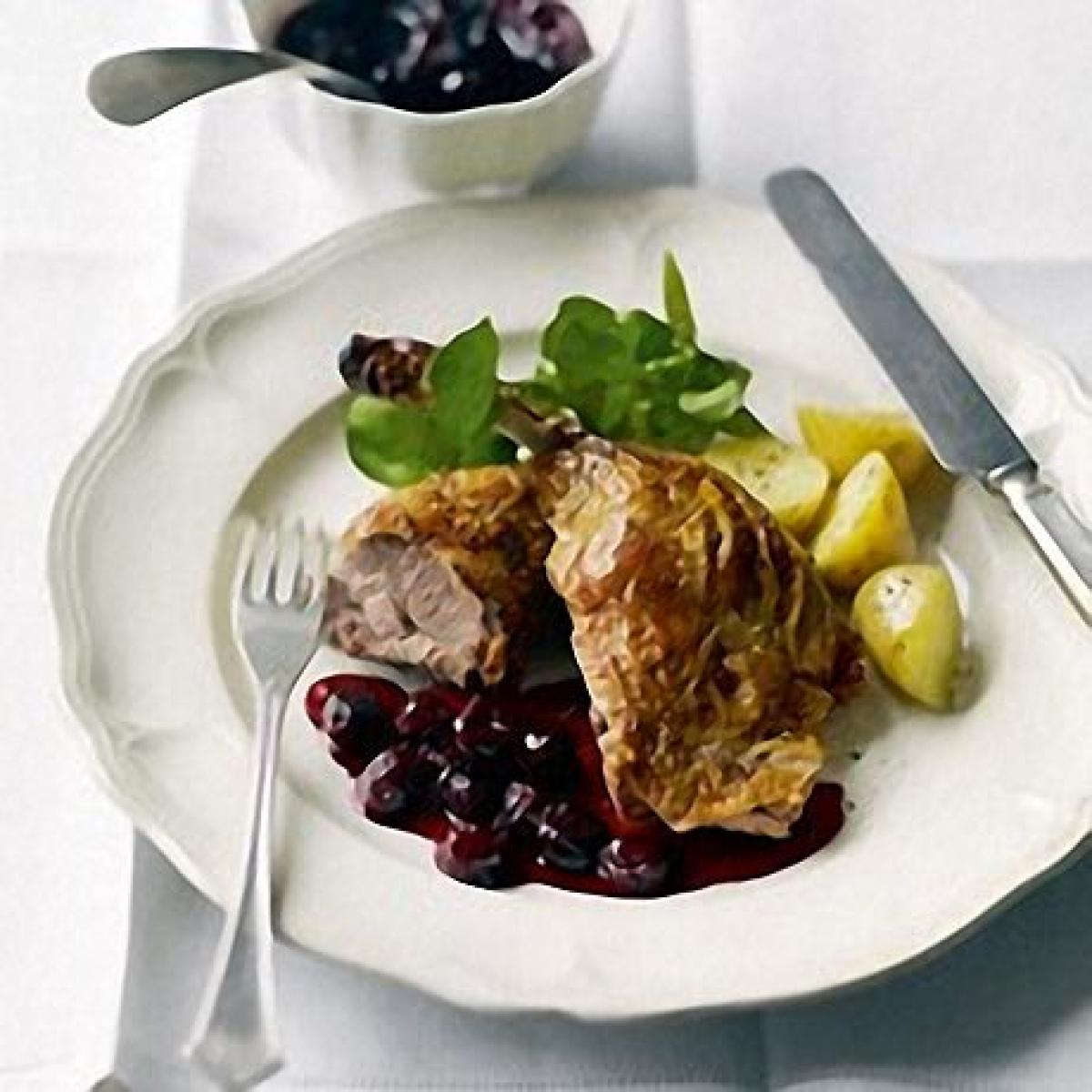 A picture of Delia's Crisp Roast Duck with Sour Cherries recipe