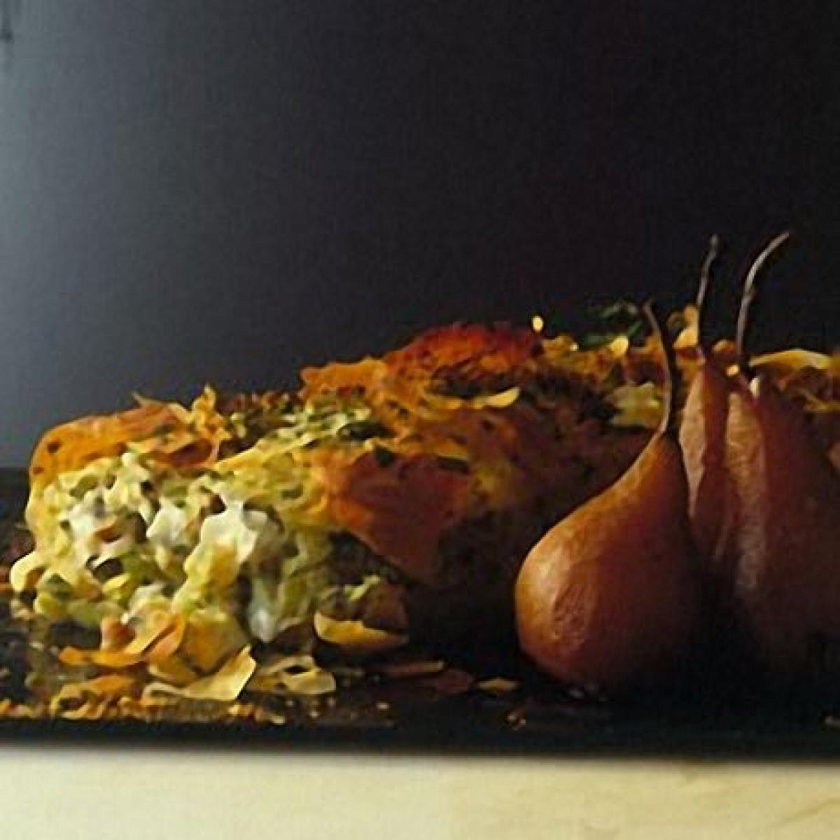 A picture of Delia's Roquefort Cheese and Apple Strudel with Spiced Pickled Pears recipe