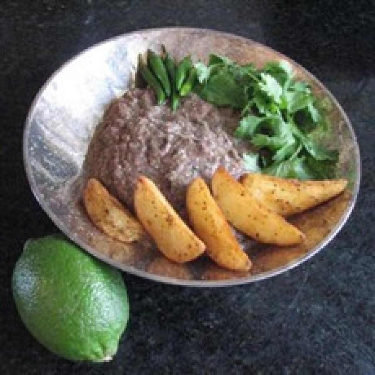 A picture of Delia's Black Bean and Jalapeno Dip with Potato Wedges  recipe