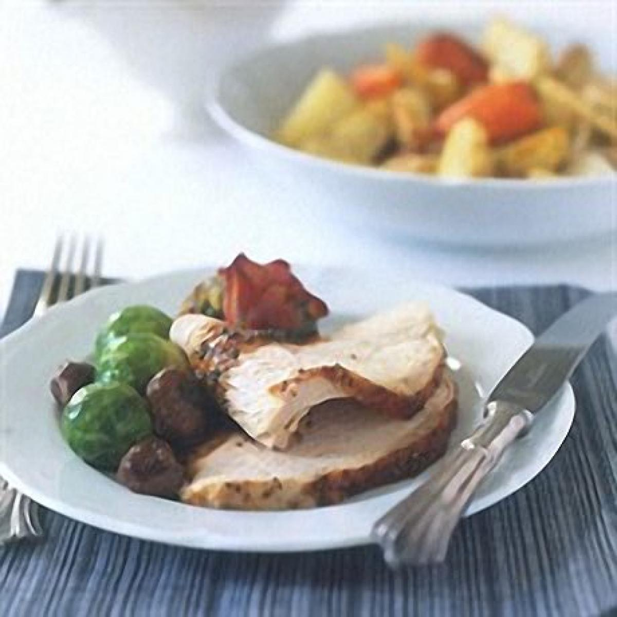 A picture of Delia's Cheats' Turkey with Pistachio and Apricot Stuffing and Pancetta and Cranberry, Balsamic and Sage Sauce recipe