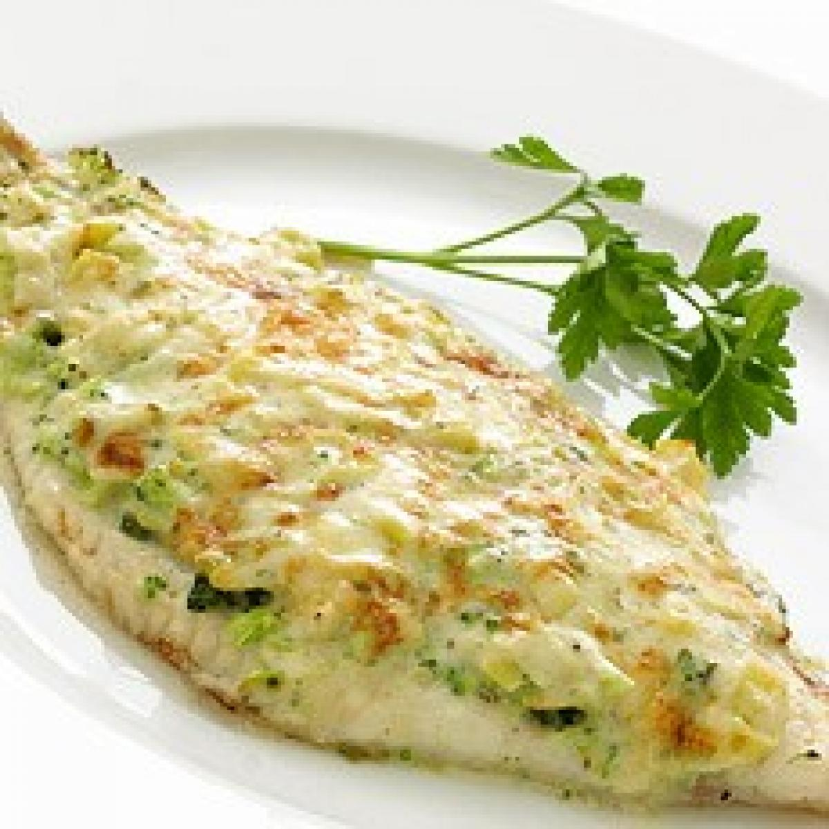 A picture of Delia's Gratin of Dover Sole with Broccoli, Leek and Gruyere Sauce  recipe