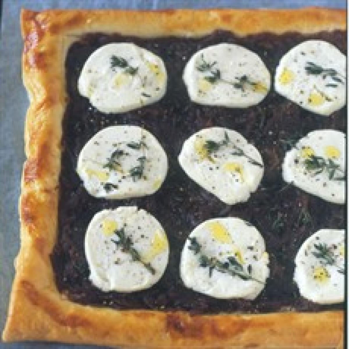 A picture of Delia's Red Onion and Goats' Cheese Tart recipe