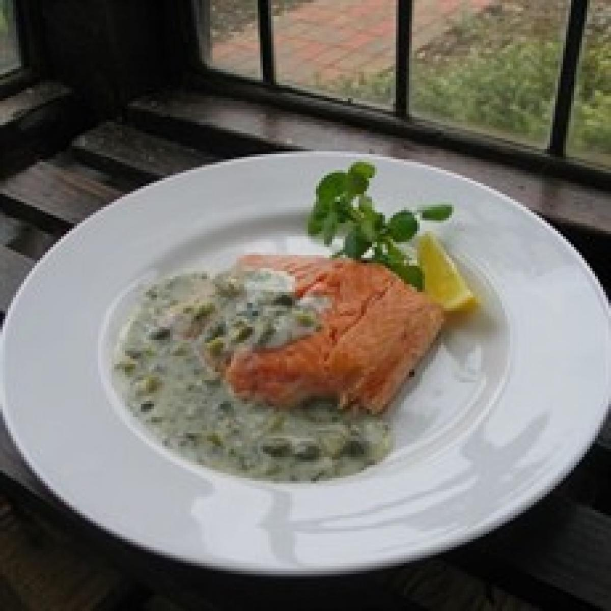A picture of Delia's Hot Smoked Salmon with Cornichon, Dill and Caper Sauce recipe