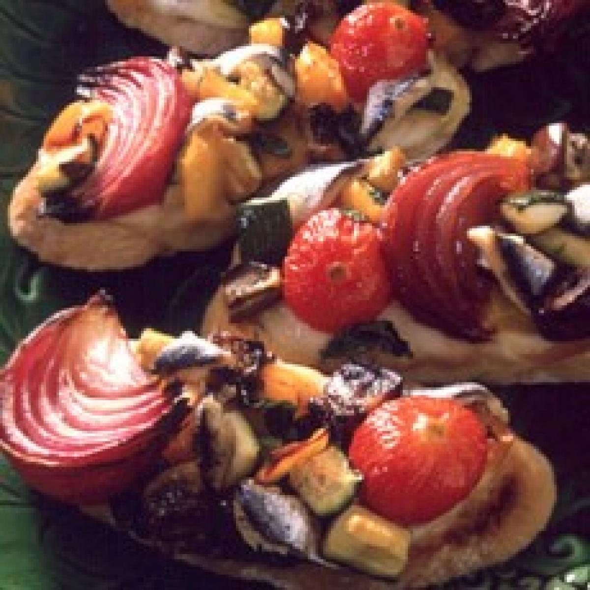 A picture of Delia's Crostini with Anchovies, Roasted Vegetables and Mozzarella recipe