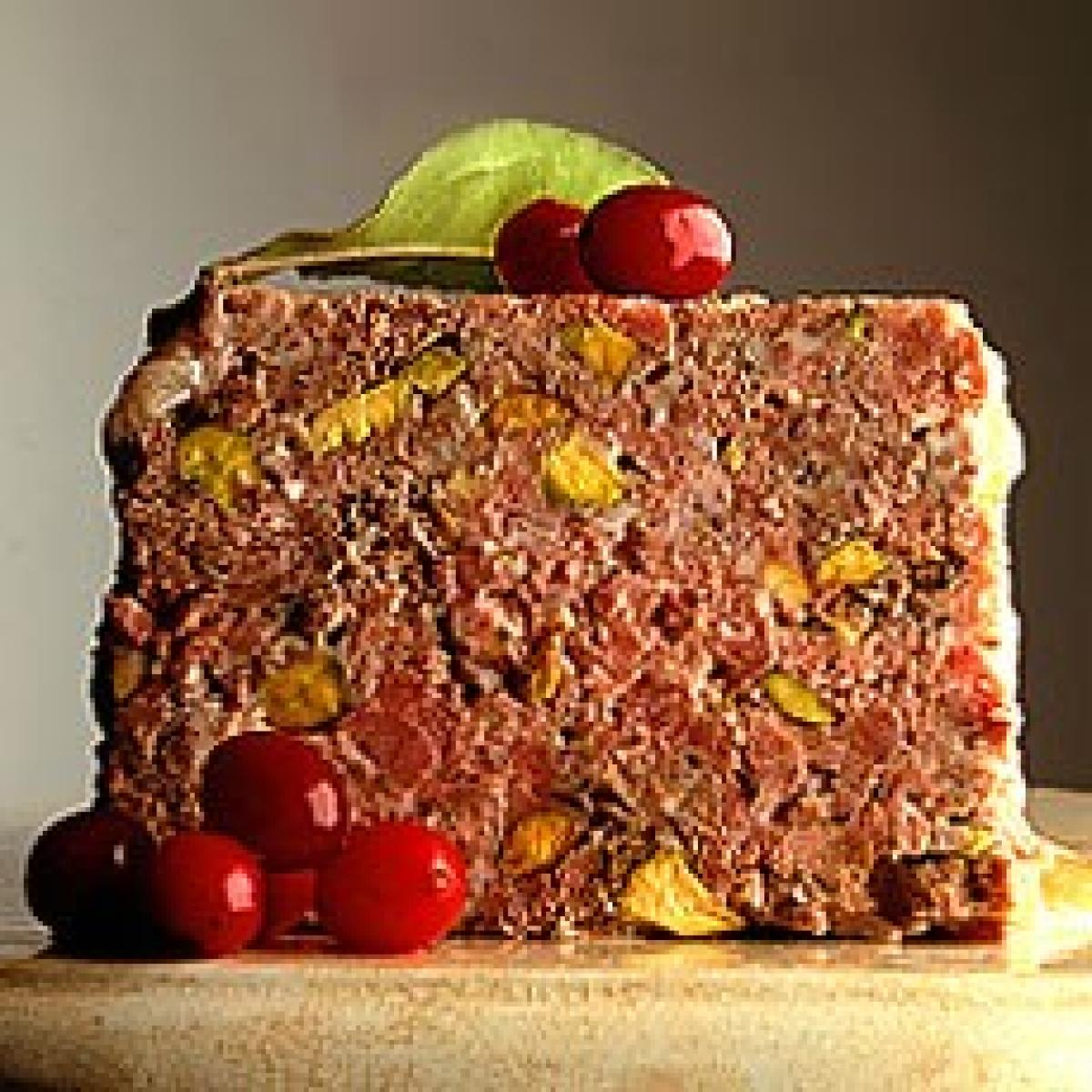 A picture of Delia's Terrine of Venison with Juniper and Pistachio Nuts and Cranberry and Orange Compote recipe