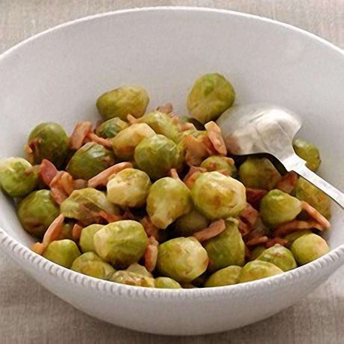 A picture of Delia's Brussels Sprouts in Riesling with Bacon recipe