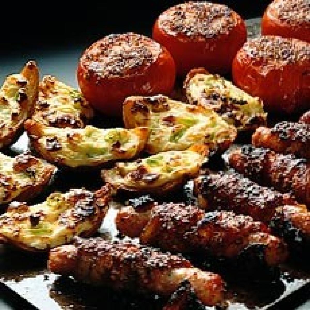 Old image sainsburys mag glazed bacon wrapped pork sausages with crispy cheese potato skins