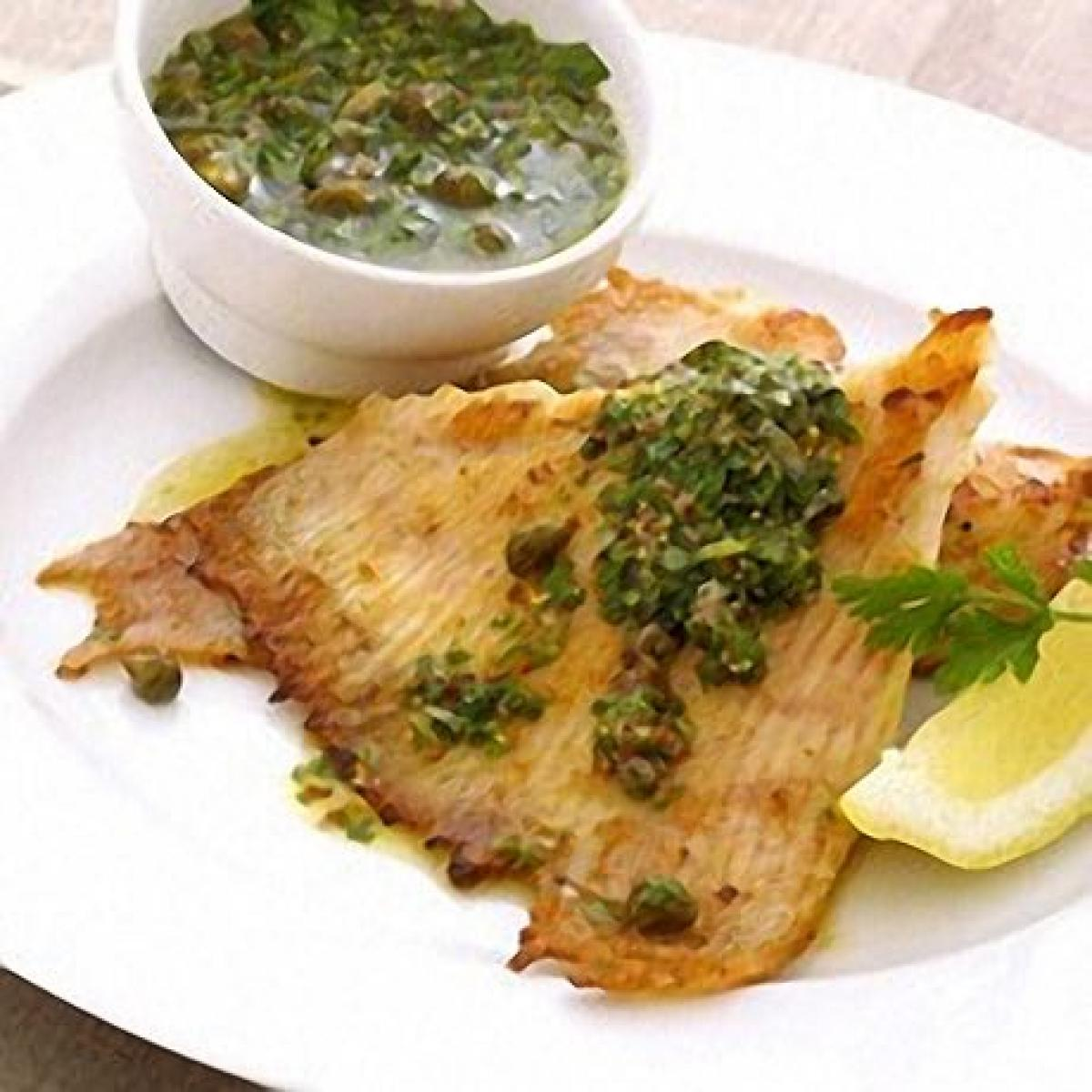 Old image summer fried skate wings with warm green salsa