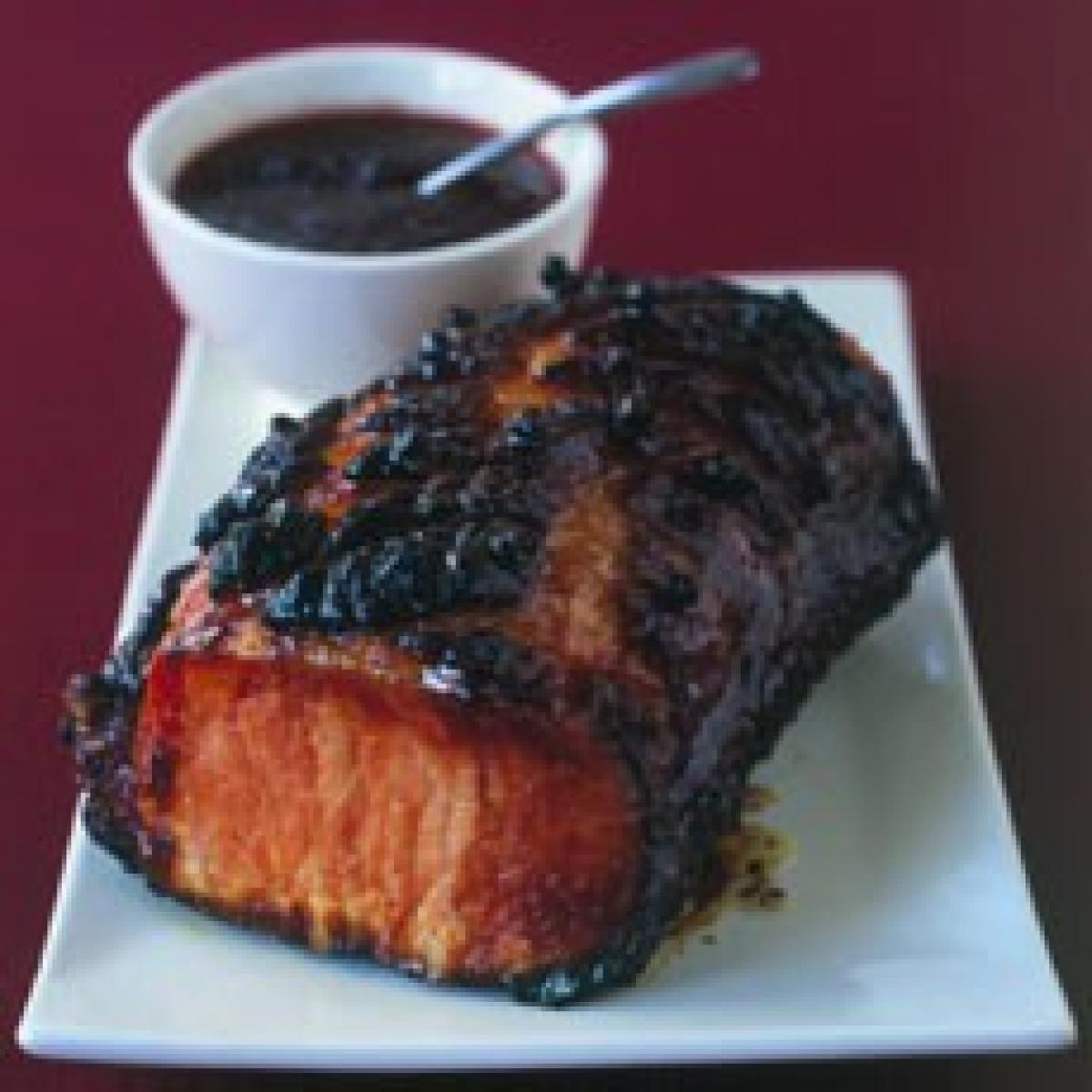 A picture of Delia's Glazed Smoked Loin of Pork with Cumberland Sauce recipe