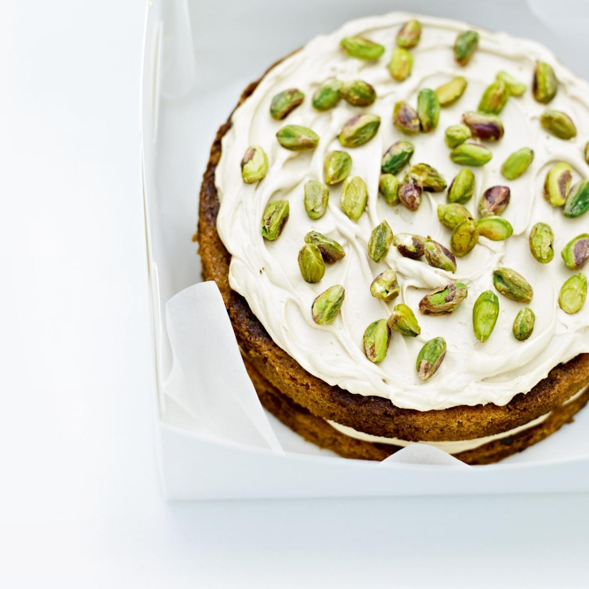 A picture of Delia's Coffee and Cardamom Cake with Pistachios recipe