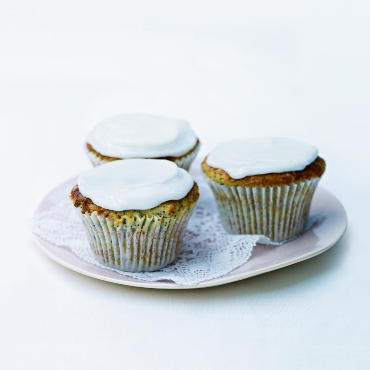 Cakes iced lemon and poppy seed muffins