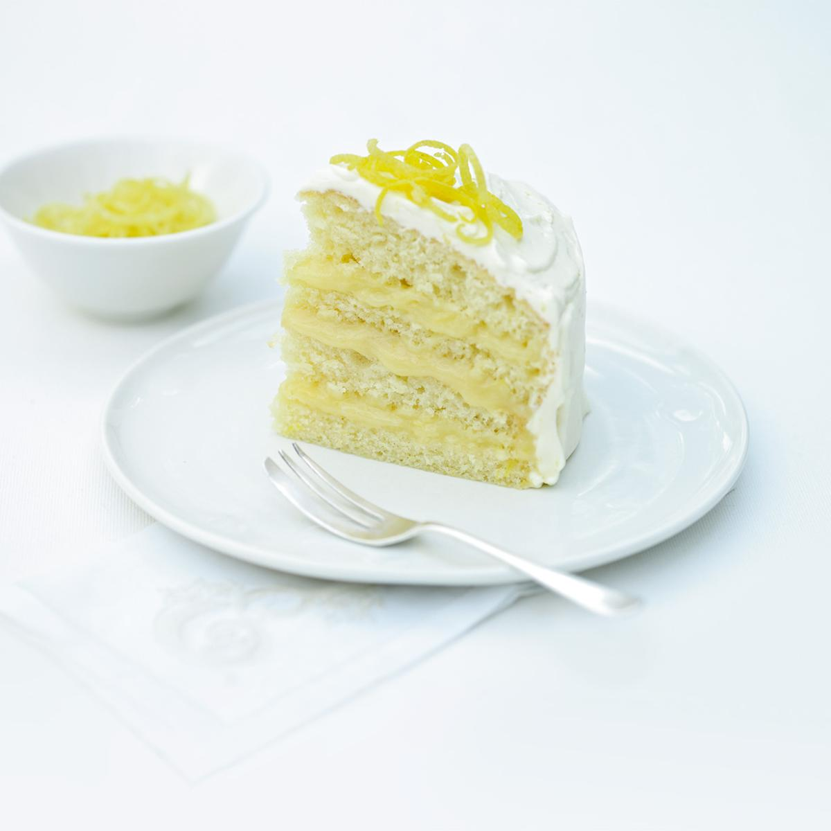 Cakes iced lemon curd layer cake