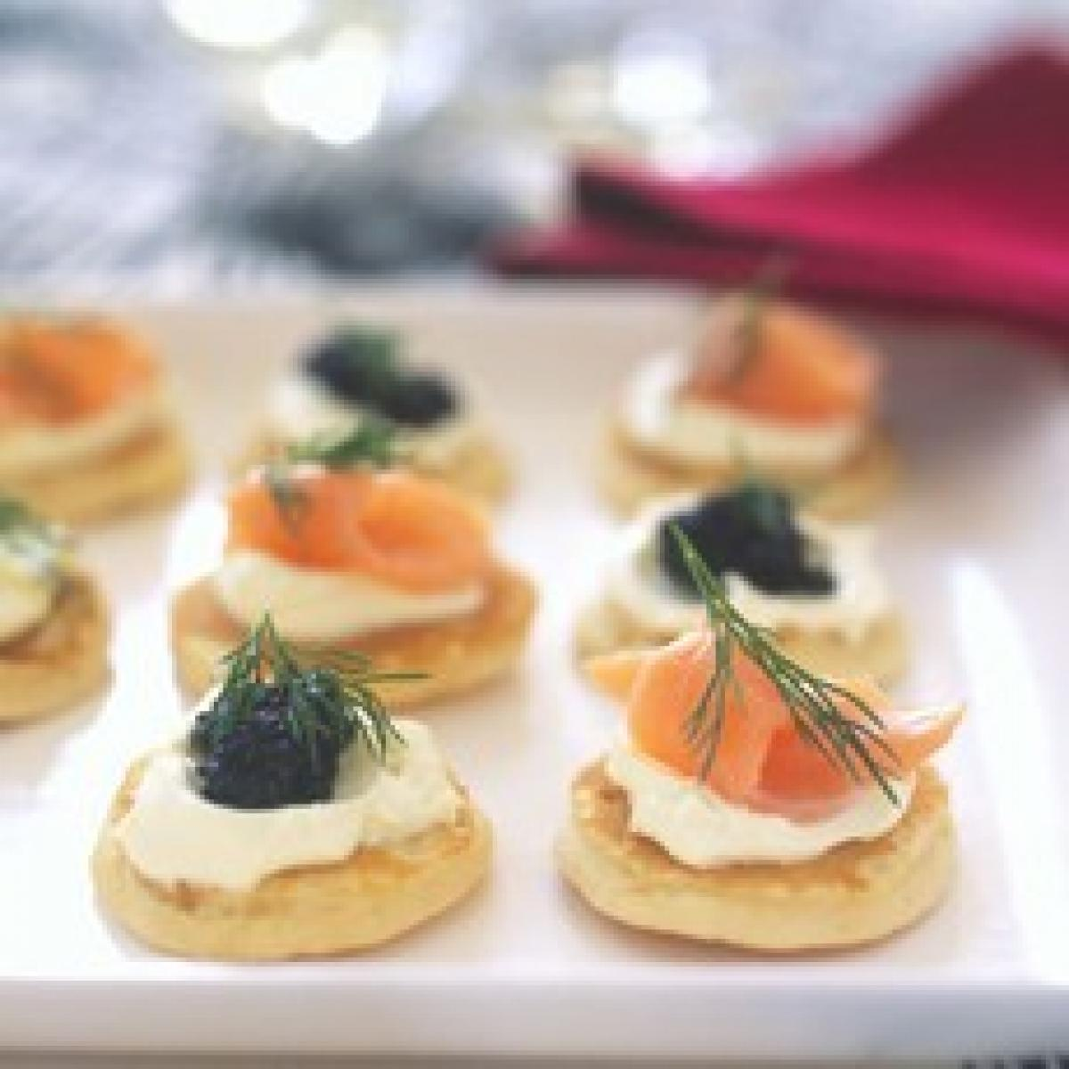 A picture of Delia's Blinis with Smoked Salmon and Caviar recipe